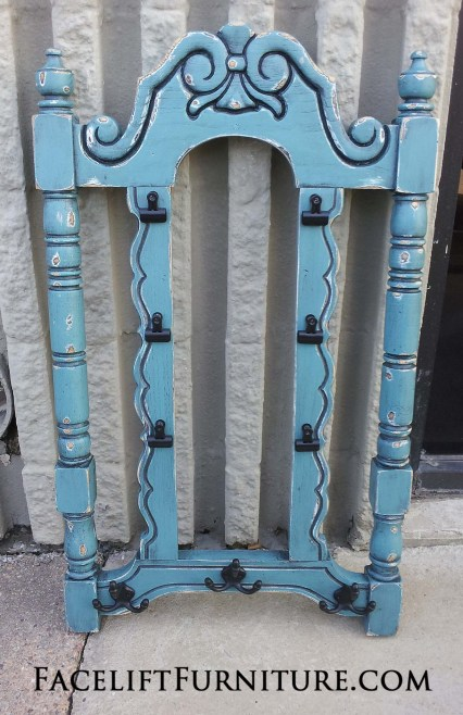 Chair back re-purposed into coat rack ~ Facelift Furniture