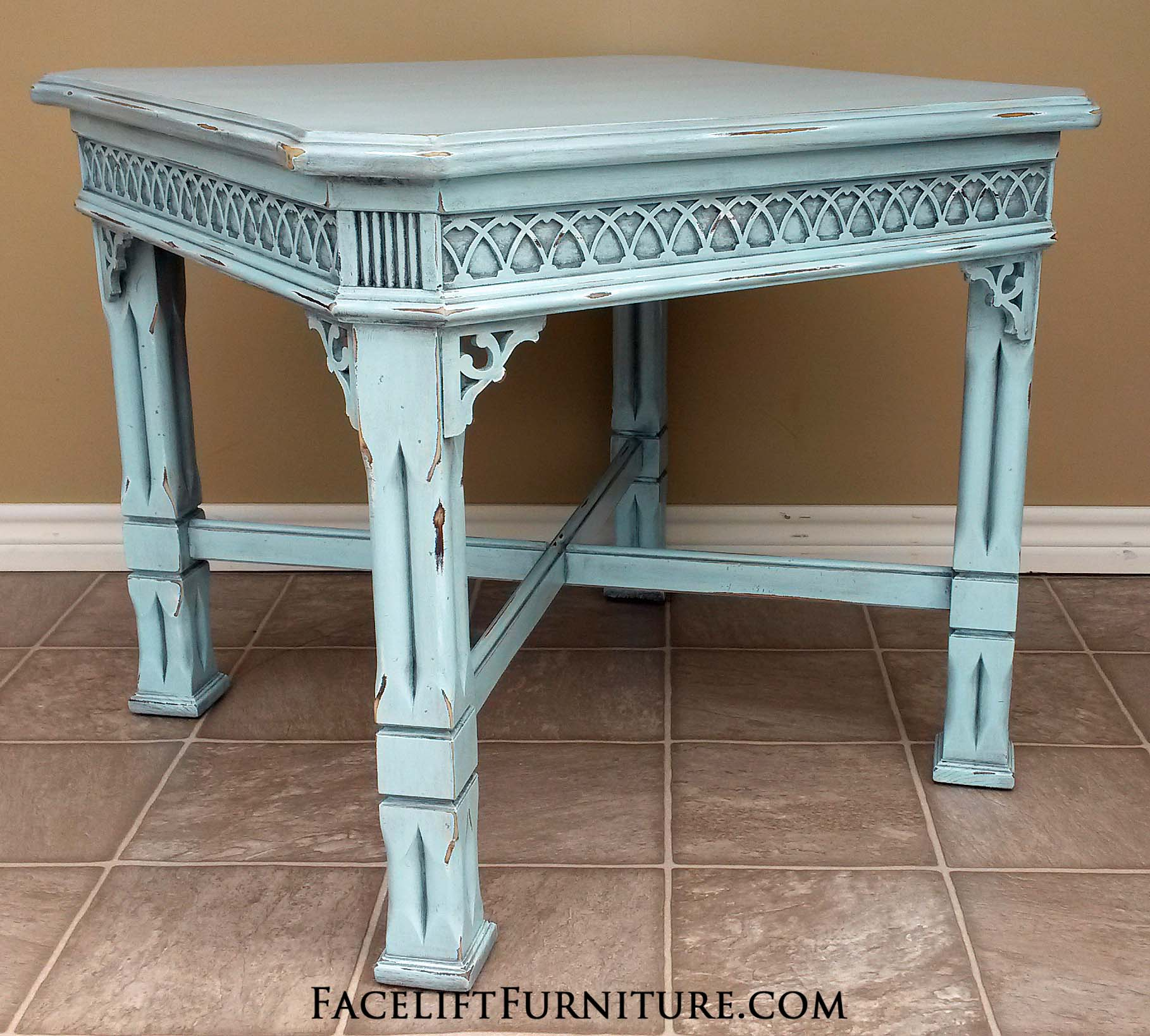 Ornate End Table In Robinu0027s Egg Blue