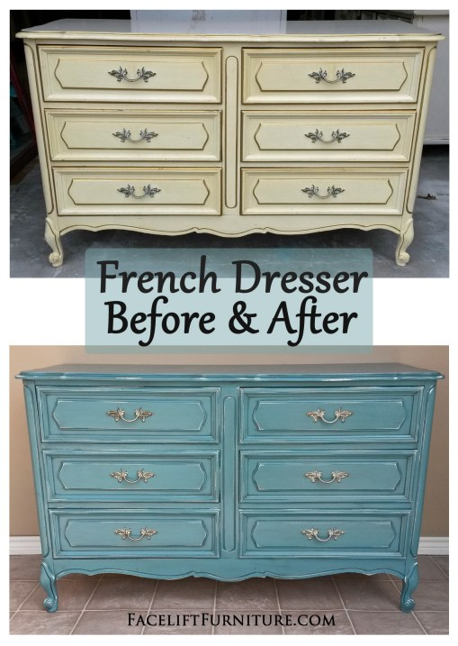 Sea Blue French Dresser ~ Before & After. From Facelift Furniture's DIY Blog.