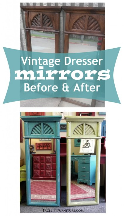 Vintage Dresser Mirrors Before & After