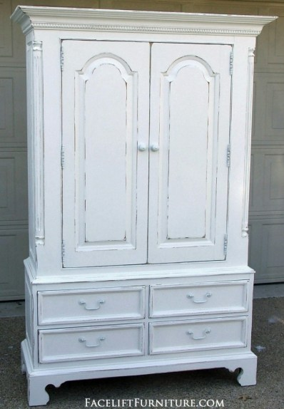 Distressed White Clothing Armoire - Facelift Furniture