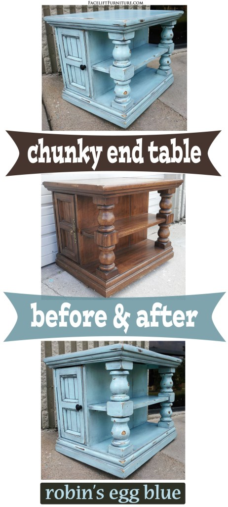 Robins Egg Chunky End Table - Before & After