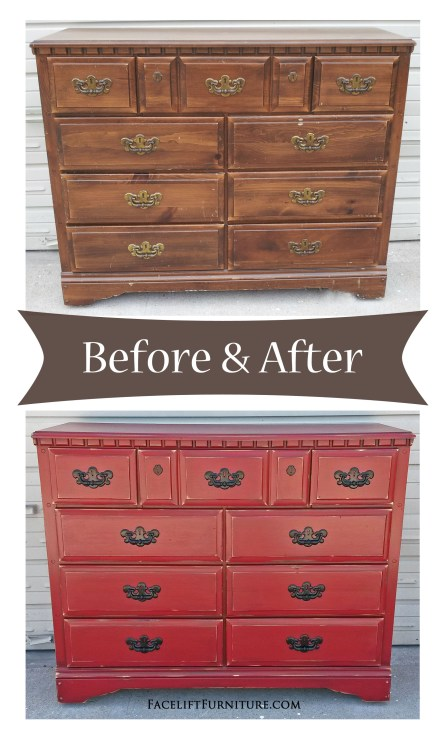 Barn Red Dresser with Black Vintage Pulls - Before & After