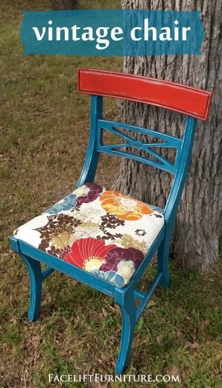 Vintage Chair in Peacock Blue & Blazing Orange. Facelift Furniture DIY Blog.
