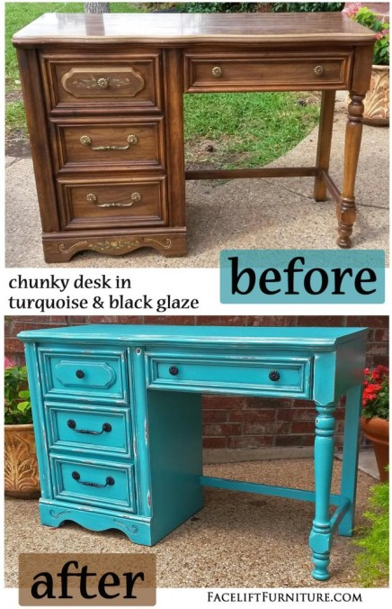 Turquoise Chunky Desk - Before & After
