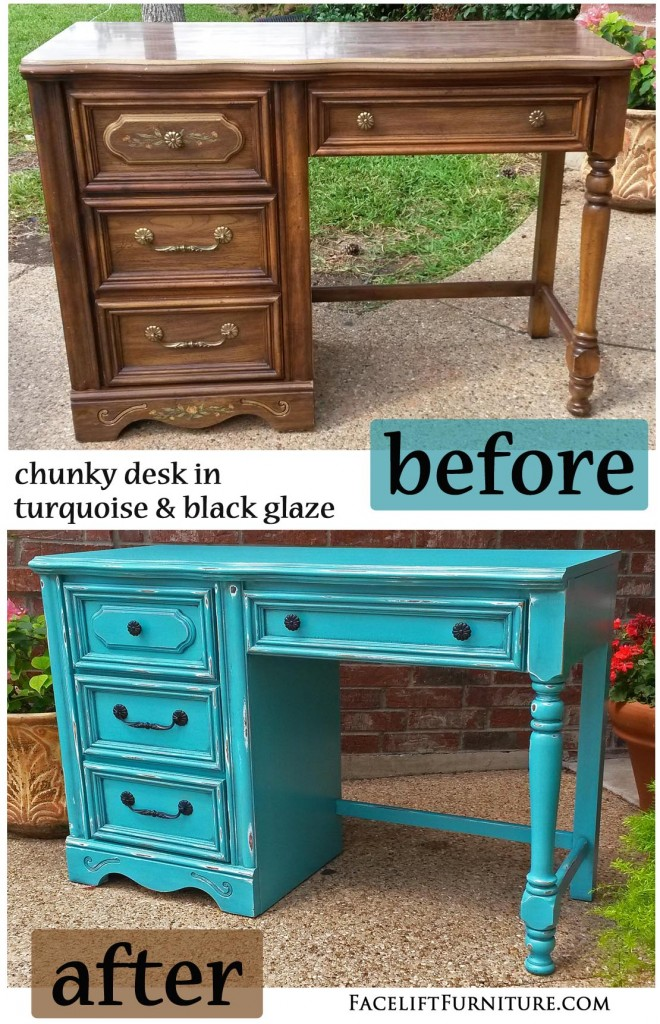 Turquoise Chunky Desk   Before U0026 After