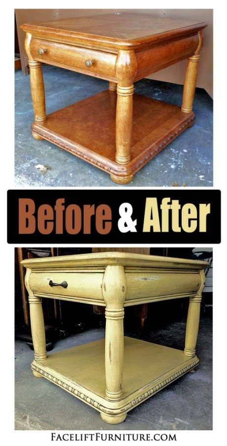 Caramel Yellow End Table Before & After