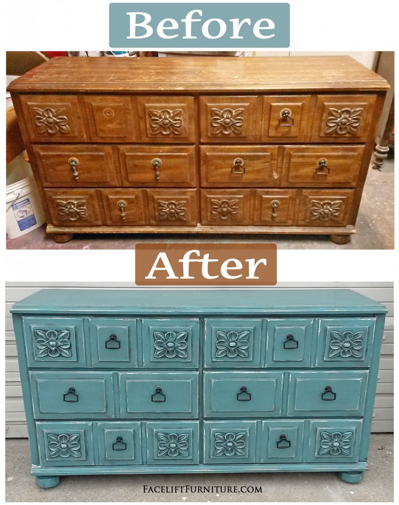 Distressed Sea Blue Dresser with White Glaze Facelift Furniture