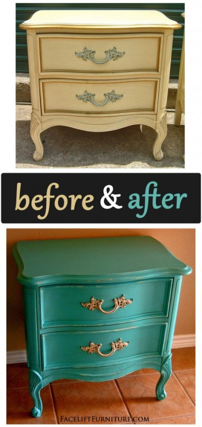 Turquoise French Nightstand - Before & After