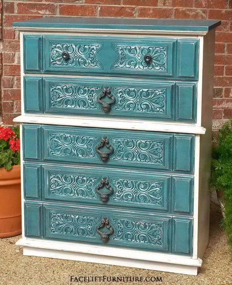 Vintage Chest Ornate Off White Sea Blue