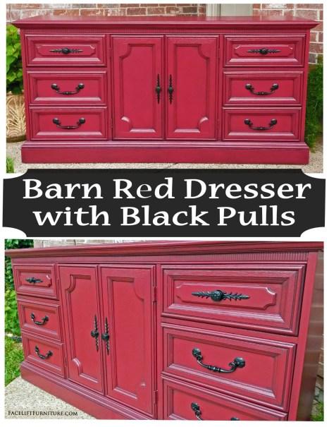Barn Red Vintage Dresser With Black Pulls Facelift Furniture