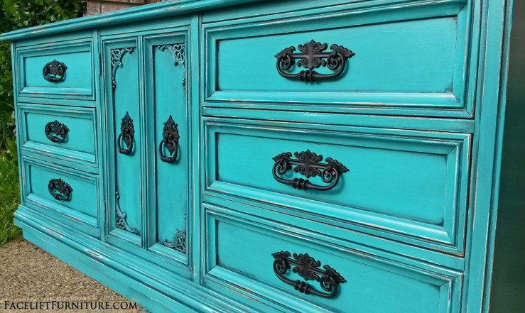 Turquoise Dresser Black Ornate Pulls side