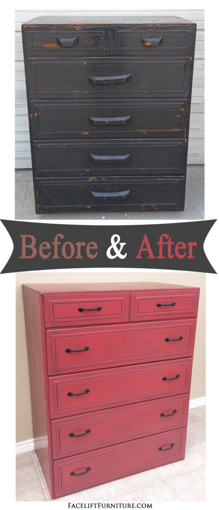 Chest of drawers painted and glazed in Barn Red with Black Glaze. Before and After  inspiration from Facelift Furniture.