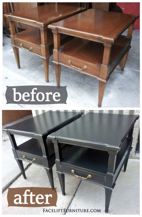Black End Tables Before & After