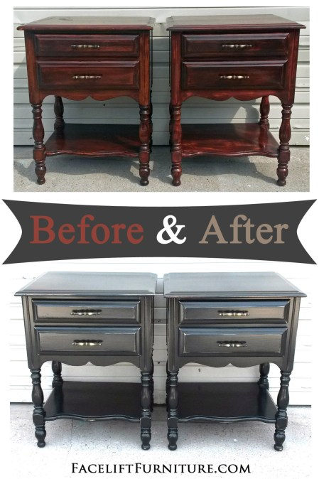 Distressed matching nightstands painted Black - Before and After from Facelift Furniture