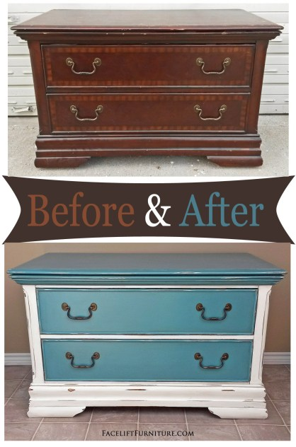 Repurposed armoire chest in distressed sea blue with black glaze - Before and After from Facelift Furniture