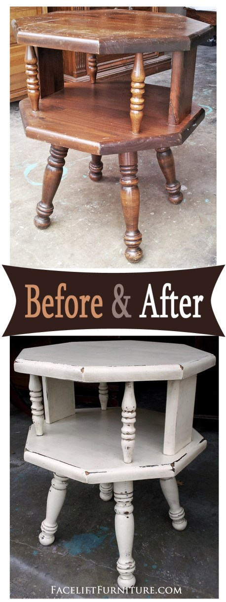 Octogon end table in distressed Off White  and Espresso Glaze - Before and After