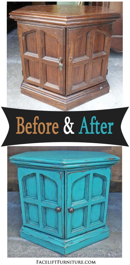 Hexagon end table painted, glazed and distressed in Turquoise with Black glaze. Before and after from Facelift Furniture.