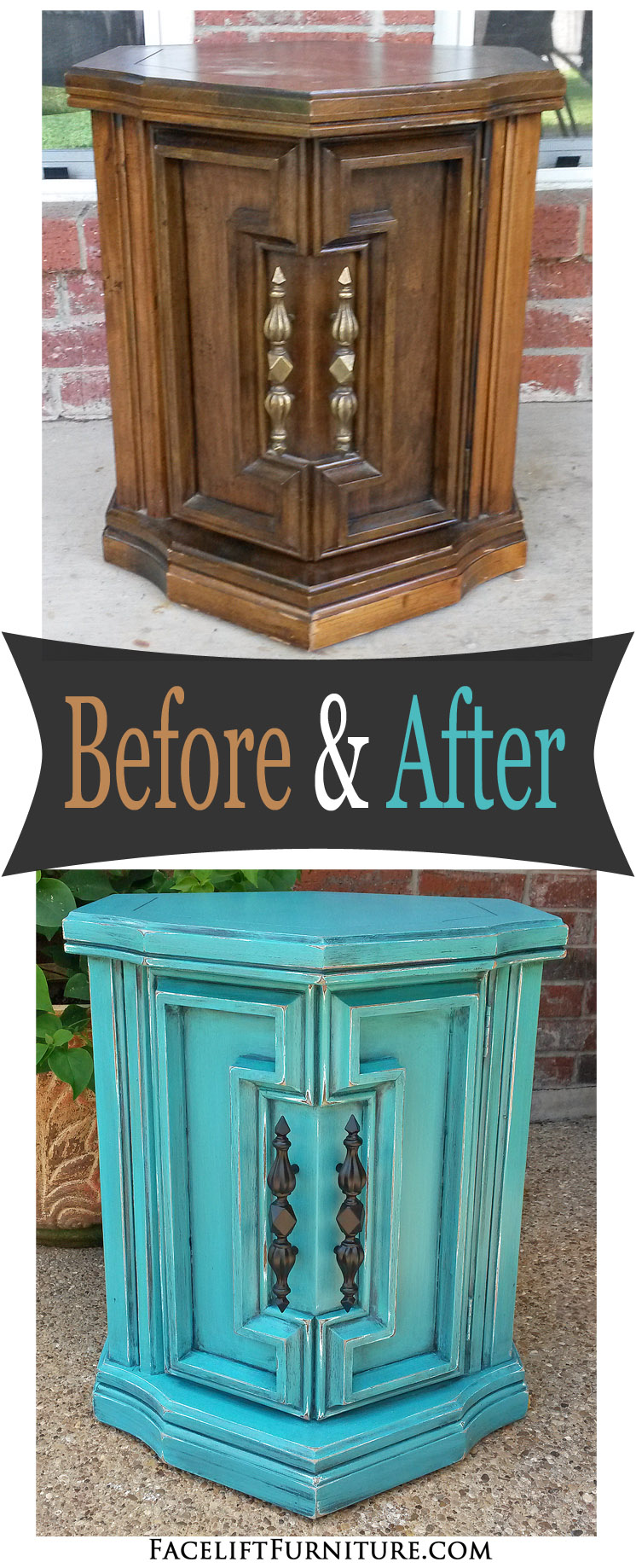 Chunky Hexagon End Table In Distressed Turquoise With Black Glaze   Before  And After. From