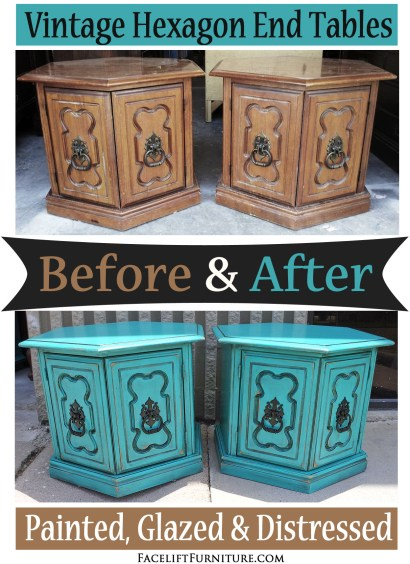 Hexagon end tables painted, glazed and distressed in turquoise and black glaze. Before and after from Facelift Furniture's DIY Blog.