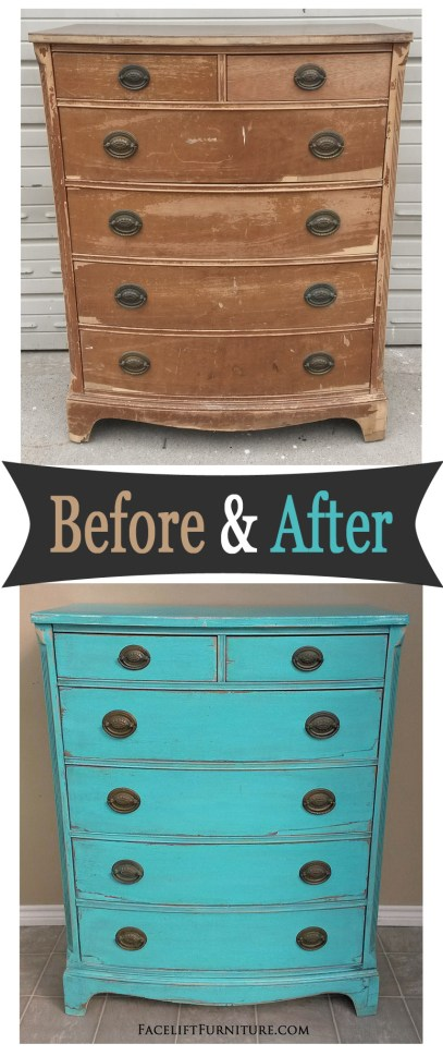 Rustic vintage chest in Turquoise with Black Glaze - Before & After from Facelift Furniture