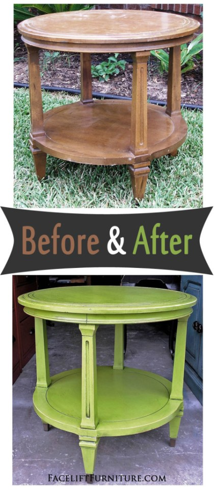 Vintage end table painted, glazed and distressed in Lime Green and Black Glaze - Before and After from Facelift Furniture