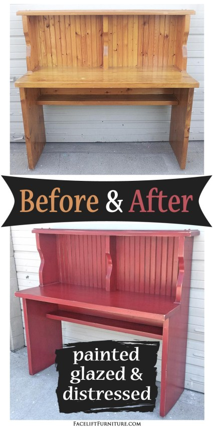 Pine block desk in distressed Barn Red and Black Glaze - Before and After