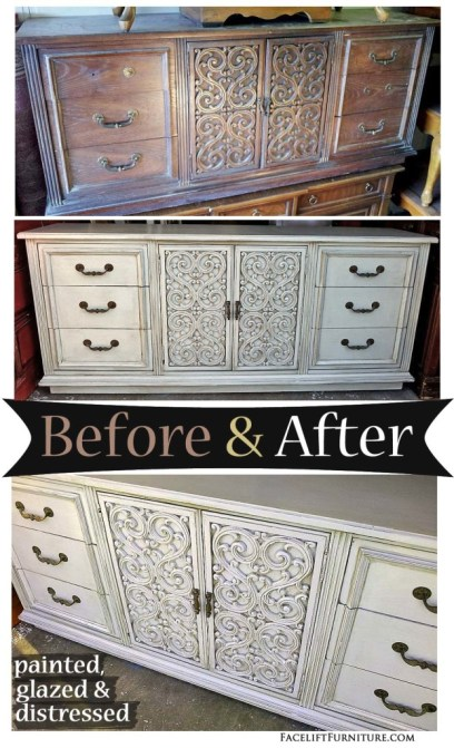 Grey Vintage Dresser with Scrollwork ~ Before and After. Find more painted, glazed & distressed inspiration on our Pinterest boards, or on the Facelift Furniture DIY blog.