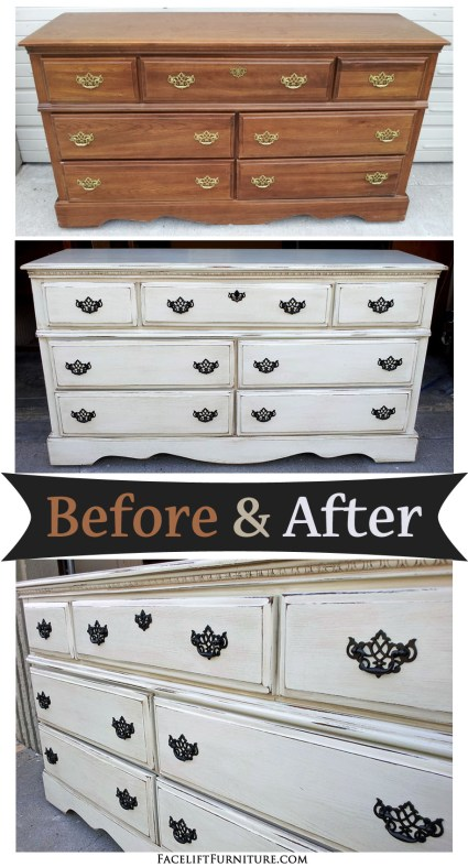 Off White Dresser with Espresso Glaze - Before and After from Facelift Furniture's DIY Blog