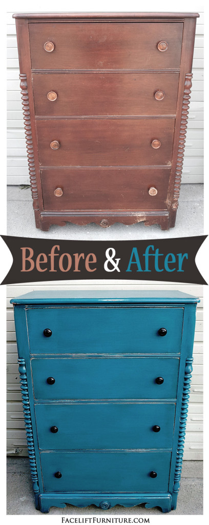 Antique Chest in Peacock Blue and Black Glaze  ~ Before & After. Find more painted, glazed & distressed inspiration on our Pinterest boards, or on the Facelift Furniture DIY blog.