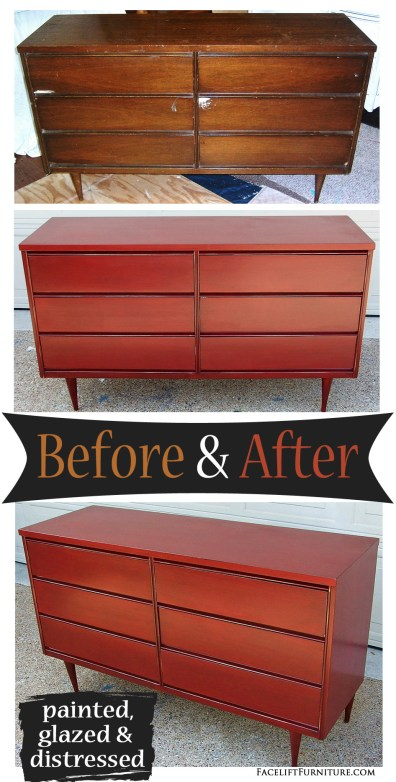 Mid-Century Dresser in Chili Pepper Red and Black Glaze ~ Before and After. Find more painted, glazed & distressed inspiration on our Pinterest boards, or on the Facelift Furniture DIY blog.