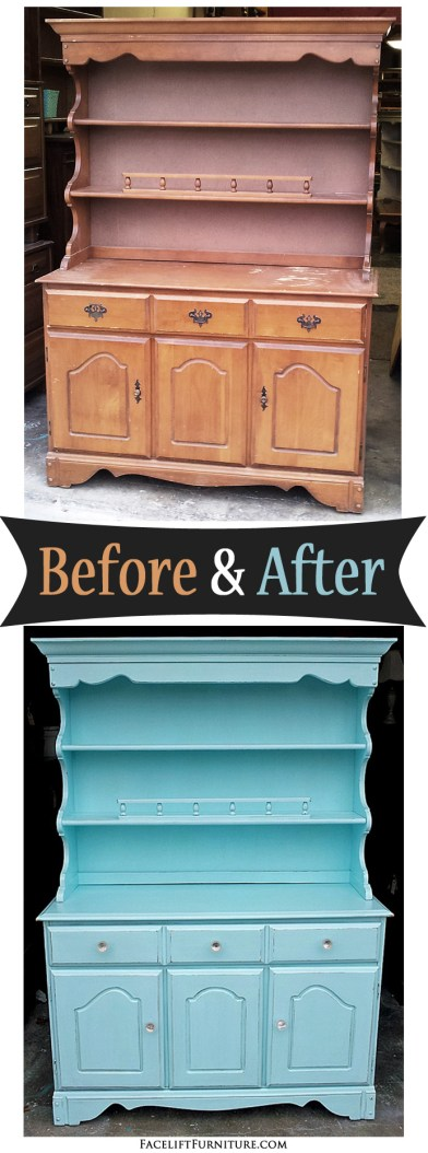 Robin's Egg Blue Maple Hutch ~ Before & After. Find more painted, glazed & distressed inspiration on our Pinterest boards, or on the Facelift Furniture DIY blog.