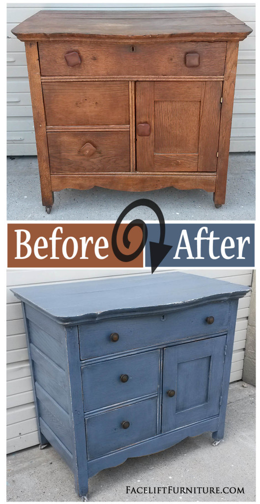 Antique Cabinet Painted, Glazed And Distressed In Slate Blue And Black  Glaze. Before And