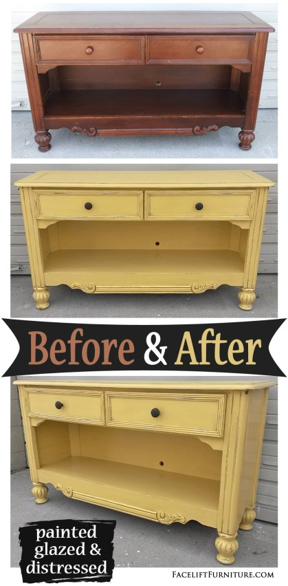 Media Console in Yellow with Black Glaze - Before and After from Facelift Furniture's DIY Blog