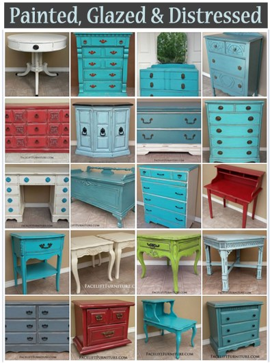 Find DIY inspiration in our many collections for painted, glazed and distressed furniture organized by color, type of furniture piece or before and after. From Facelift Furniture.