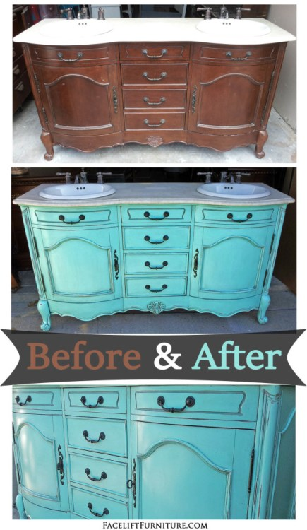 "Bath vanity painted, glaze and distressed in ""Sweet Rhapsody"" (Behr, Home Depot). Before and after from Facelift Furniture."