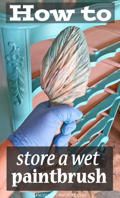 How to store a wet paintbrush. From the Facelift Furniture DIY Blog