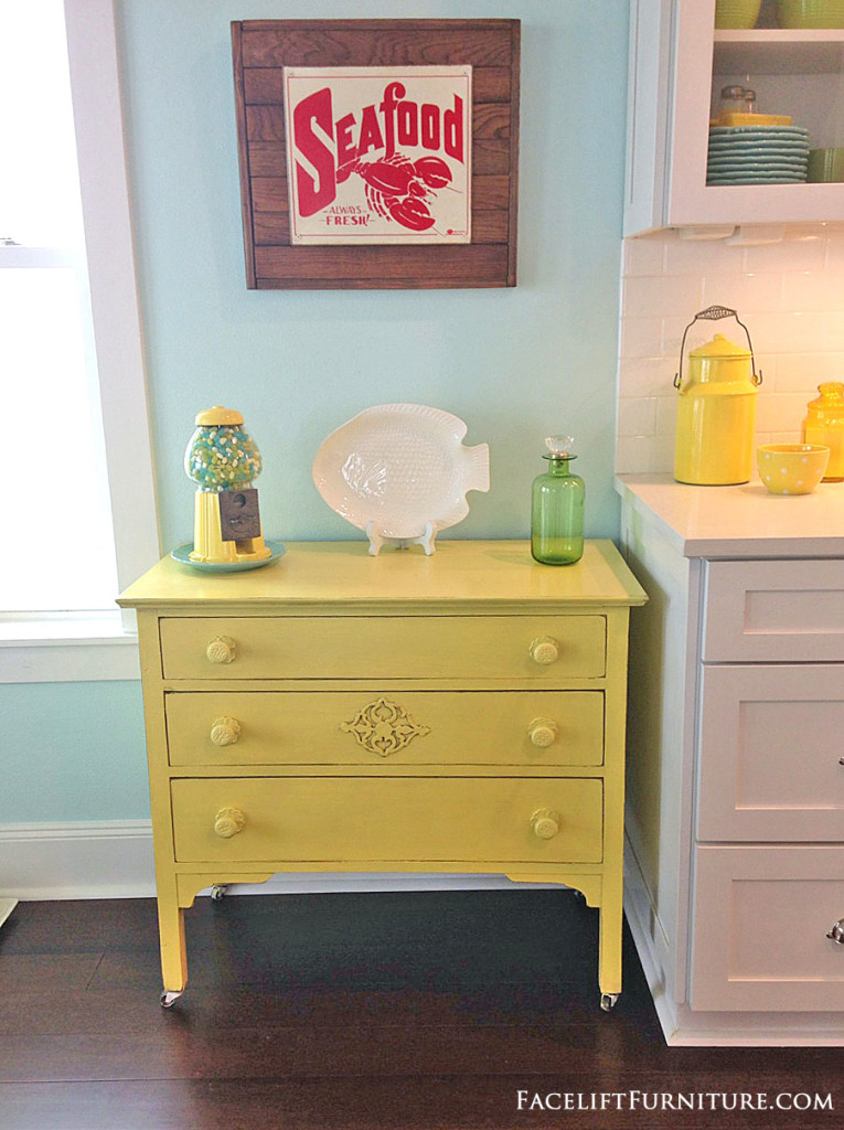Dresser Makeover In Distressed Yellow With Black Glaze. From The Beach  House Collection At Facelift