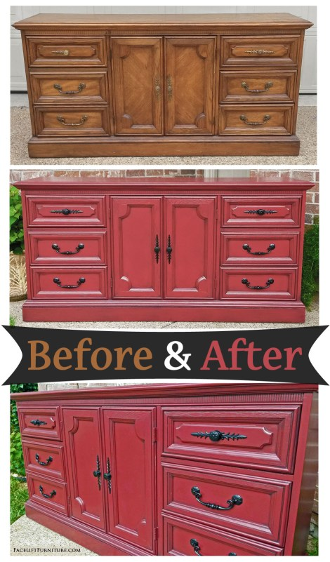 Dresser painted and glazed in Barn Red and Black - Before and After from Facelift Furniture