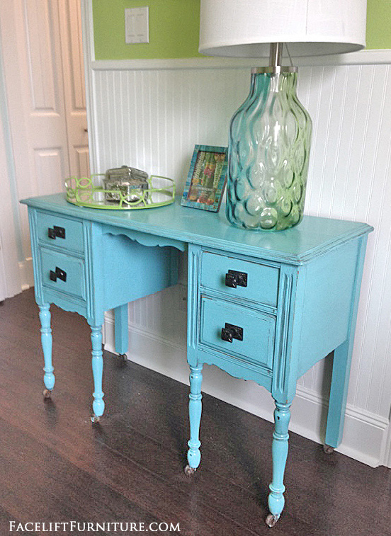 Merveilleux Vanity Desk Makeover In Distressed Blue With Black Glaze. From The Beach  House Collection At