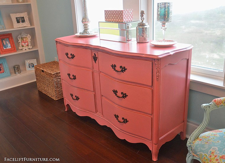 French dresser makeover in distressed coral with black glaze. From the Beach House collection at Facelift Furniture.