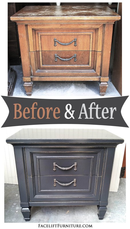 Nightstand in distressed Black - Before and After from Facelift Furniture