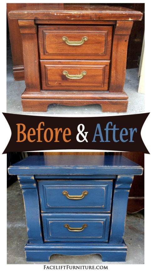 Chunky nightstand in distressed Denim Blue with Black Glaze - Before and After from Facelift Furniture