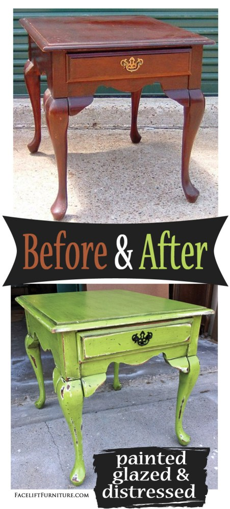 Lime Green Queen Ann End Table - Before and After from Facelift Furniture