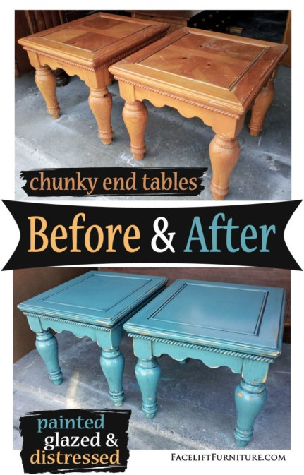 Chunky end tables painted, glazed and distressed in Sea Blue with Black Glaze - Before and After from Facelift Furniture's DIY Blog.