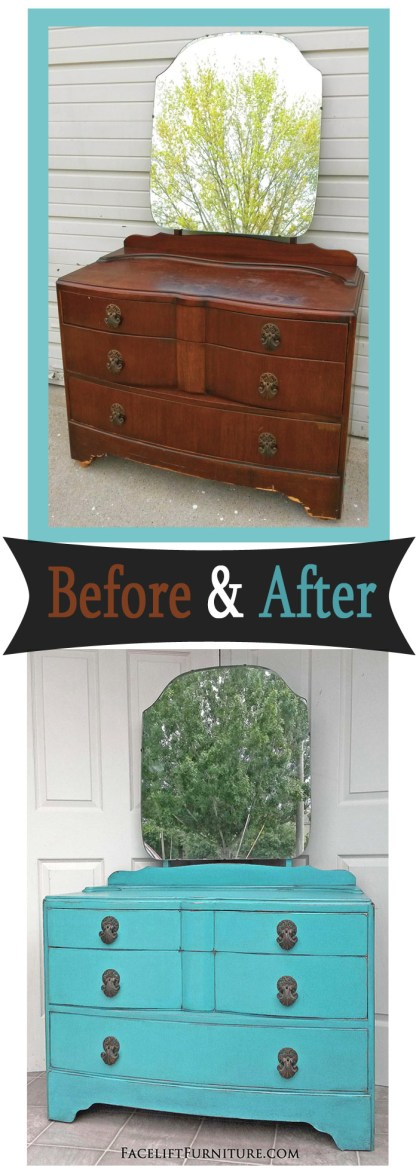Antique vanity dresser in distressed Turquoise with Black Glaze - Before and After from Facelift Furniture.