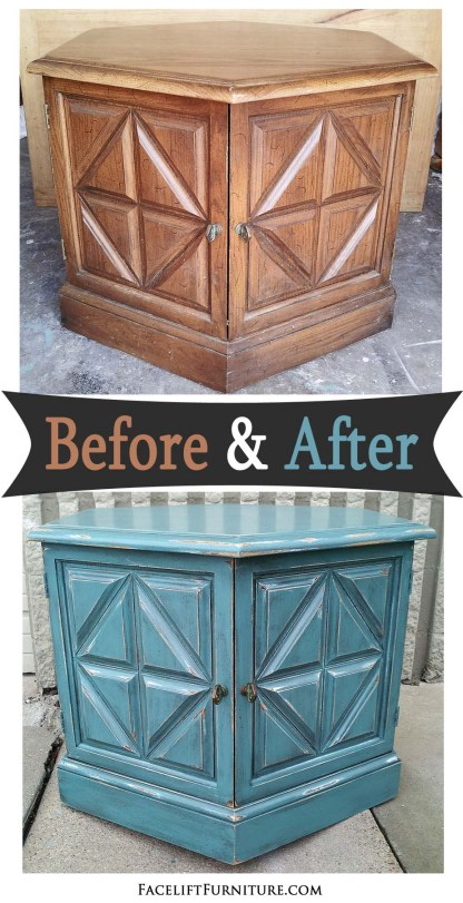 Hexagon end table in distressed Sea Blue with Black Glaze - Before and After from Facelift Furniture