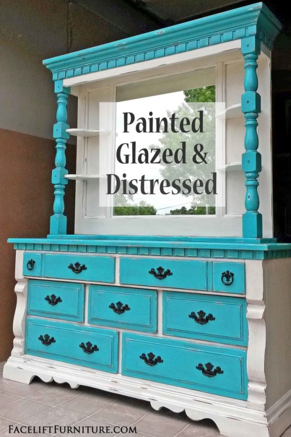 Turquoise & Off White Dresser Painted Glazed Distressed