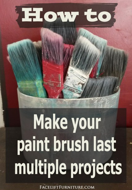 How to make your paint brush last multiple projects. From the Facelift Furniture DIY Inspiration blog.
