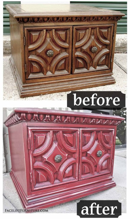 Chunky end table in distressed Barn Red with Black Glaze - Before and After from Facelift Furniture